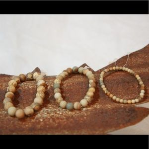 3 Strands of Earth Colored Beaded Bracelets